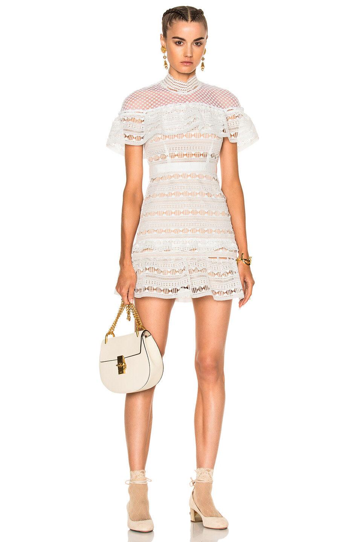 ea770589bad Купить NWT Self-Portrait Yoke Frill Mini White Dress UK на eBay.com ...