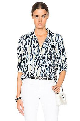 NWT Equipment Signature Abstract Cheetah Print Silk Shirt Marshmallow XS-M (Abstract Cheetah)