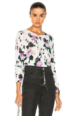 NWT Equipment Sloane Floral Print Cashmere Crew Neck Sweater Ivory Multi $298