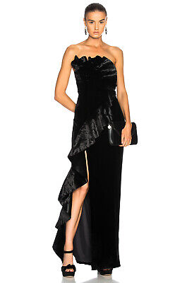 CINQ a SEPT Black Annoziata Asymmetric Ruffle Strapless Velvet High Slit Gown -