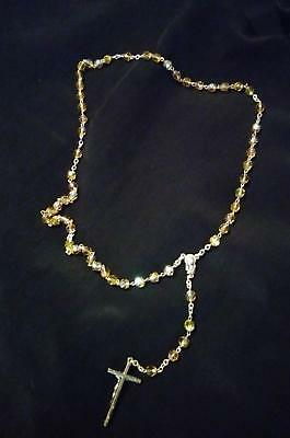 """November Birthstone Golden Brown Topaz Colored Glass Beads Rosary 17"""" New"""