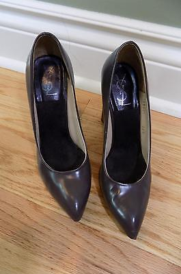 YSL Yves Saint Laurent Women's Shoes Sz 38.5 Grey Leather Point Toe Pumps