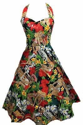 Vintage 50s Hepburn Dress Halter 1950s Style Beach Girl Print Pin Up Rockabilly](50s Girl Fashion)