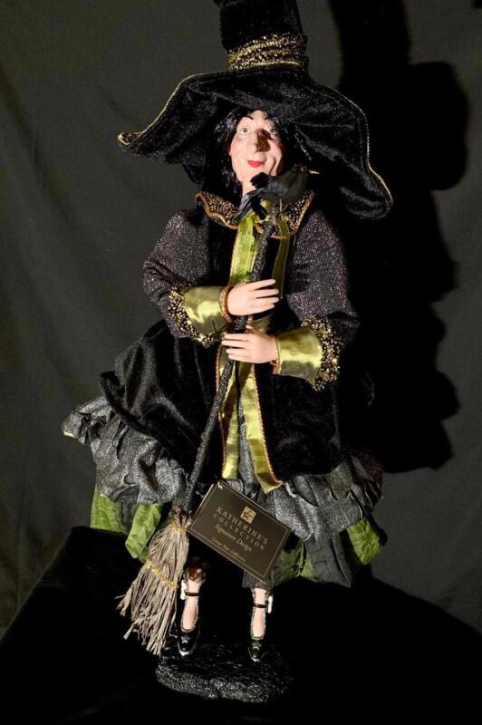 Katherine's Collection - Standing Witch Doll w Broom - Halloween - 18-740372