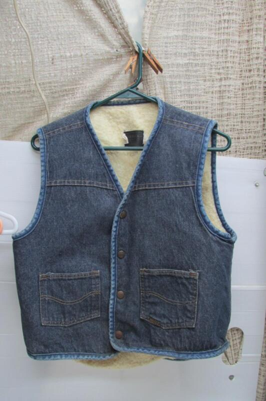 Vintage Roebucks Blue Fleece  Lined Denim Vest[Not Sears And Roebucks] Medium