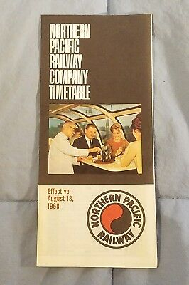 1968 Northern Pacific Railroad Train Time Table Timetable