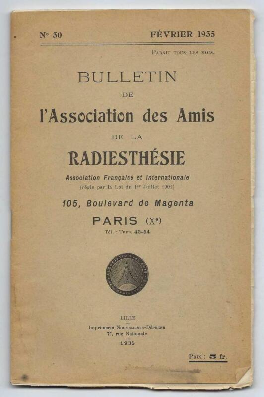 1935 Radiesthesie Bulletin Paris France Medical Dowsing Vintage Rare