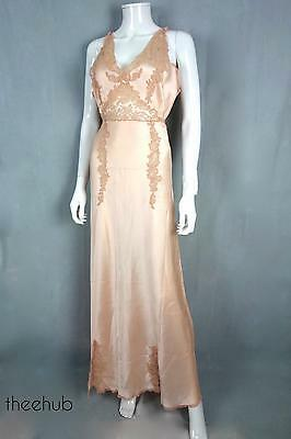 Exquisite Luxury Vtg 1930s Night Gown Silk Satin Chantilly  Lace Bias Cut Peach