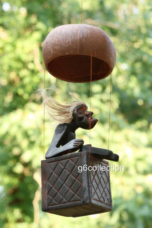 Primitive Tribal Statue Riding Hot Air Balloon Tiki Bar Unique Gift Home Decor