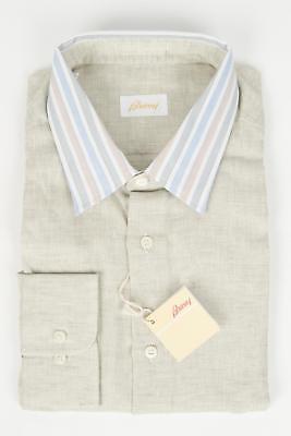Kontrast Kragen Kleid Shirt (Brioni $ 700 Beige Kontrast Gestreift Punkt Kragen Leinen Sport Kleid Shirt XL)