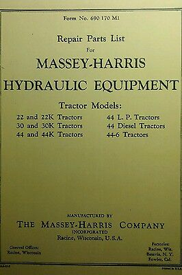 Massey Harris Parts List For Hydraulic Equipment Manual Tractor 22 30 44 44-6