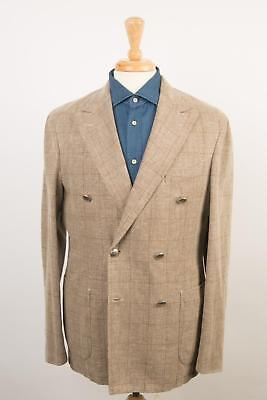Boglioli Beige Brown Plaid Double Breasted Cotton Linen Sport Coat 50 IT 40 US