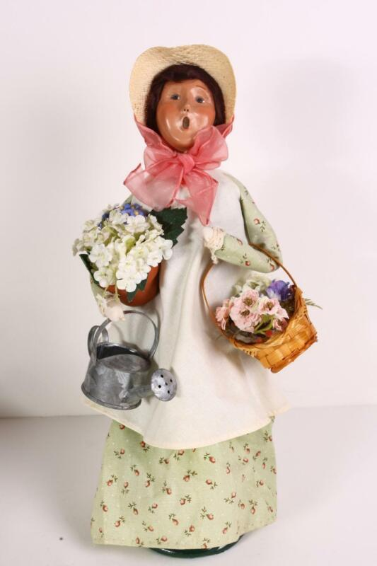 Byers Choice Carolers Spring Woman with Watering Can, Basket/Pot of Flowers VGC
