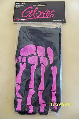 BLACK AND PINK BONES SKELETON FINGERLESS GLOVES COSTUME ACCESSORY FW90040WP - Pink Skeleton Gloves