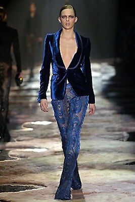 GUCCI TOM FORD RUNWAY Black Feather Peacock Embroidered Lace Pants IT42 WOW!!