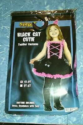 Black Cat Toddler Costume (GIRLS TODDLER 1T/2T BLACK CAT CUTIE COSTUME TUTU PINK KITTEN PARTY DRESS)