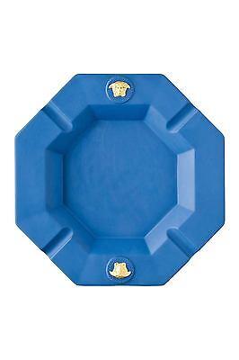 """VERSACE ASHTRAY MEDUSA GORGONA 9.5"""" GOLD BLUE Rosenthal NEW BOX BIRTHDAY $600"""