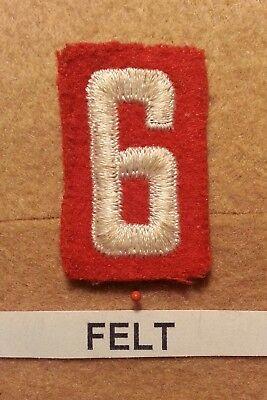 Felt Number - BSA RED FELT TROOP UNIT NUMBER 6 / 9 -(VERY GOOD COND)  GAUZE BACK 1927~52 FB011