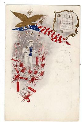 1908 4th OF JULY PATRIOTIC POSTCARD*EAGLE*AMERICAN FLAG*FIRECRACKERS*SQUIRES ND