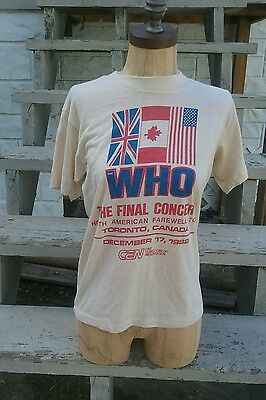 Vtg THE WHO NORTH AMERICAN FAREWELL TOUR FINAL CONCERT  T-SHIRT 1982