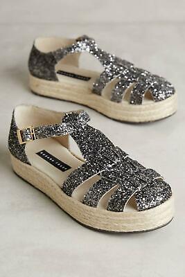 Anthropologie Susana Traca Glitter Flatform Platform Sandals Sz 38