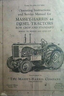 Massey-harris 44 Diesel Farm Tractor Owners Service Manual Row Crop Standard