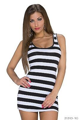 Streifen Tunika Tank (Strand Top Kleid Neon Long Tank Top Shirt Longshirt Party Minikleid Streifen)