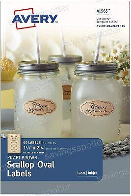 Avery Celebrations Kraft Brown Scallop Oval Labels 1-18x2-14 Printwrite 40pk