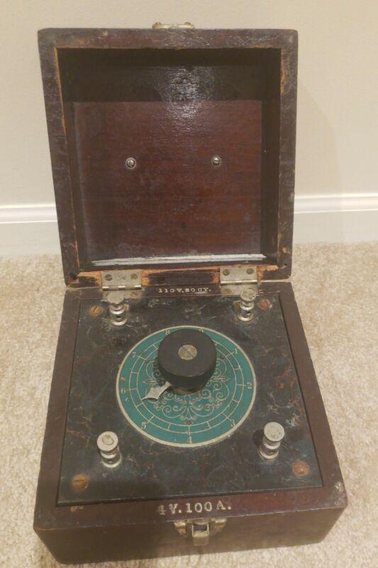 Antique Geiger Quack Medicine Cautery Transformer Plate and Case Sharp & Smith