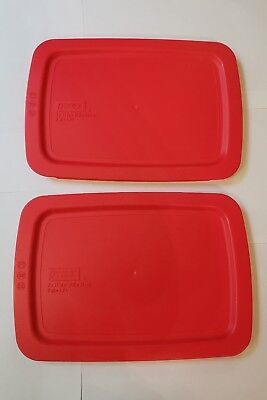 Pyrex - Set of 2 Red 2 Quart Oblong Easy Grab Lids ONLY