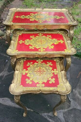 VTG Made In Italy FLORENTINE HOLLYWOOD REGENCY NESTING TABLES Gold Red Gilt - $189.00