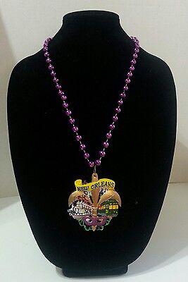 New Orleans Mardi Gras Bead Necklace Natchez Steamboat Trolley Fleur de lis