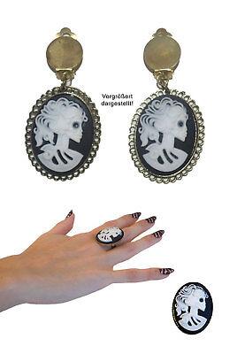 Halloween Schmuck Ring Ohrringe Set Gothic Horror La Catrina Totenkopf KK