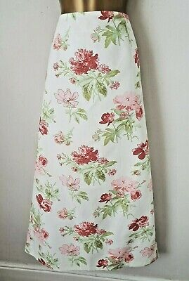Vintage Laura Ashley Cotton Floral Ivory Summer Maxi Skirt UK 16