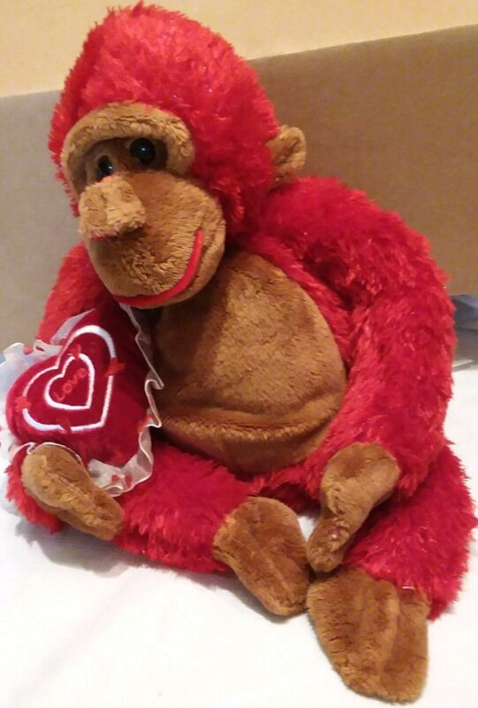 """Dan Dee Collector Adorable Red & Brown Monkey Holding Heart """"Love"""" Pillow"""