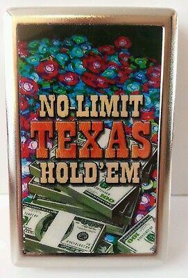 "Cigarette Case ""No Limit Texas Hold'em"" theme Silver color metal New!"