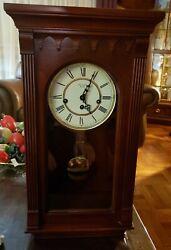 RARE Harrington House Westminster Chime Cherry Finish Mantle Wall Clock~23 Tall