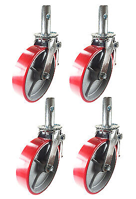 4 Pcs Scaffold Caster 6 X 2 Red Wheels W Locking Brakes 1-38 Stem 2800 Lbs.