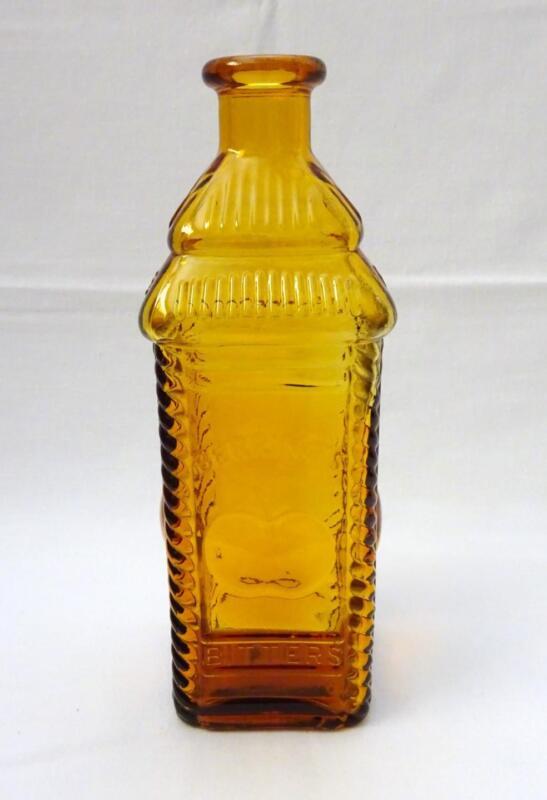 Vintage WHEATON, NJ Amber Gold Sq. Glass Bottle BERRING