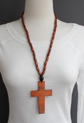 Brown wood cross long necklace big huge cross pendant wooden bead beaded