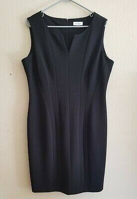 Calvin Klein Sleeveless Solid Black Formal Dress Womens Size 14 Preowned