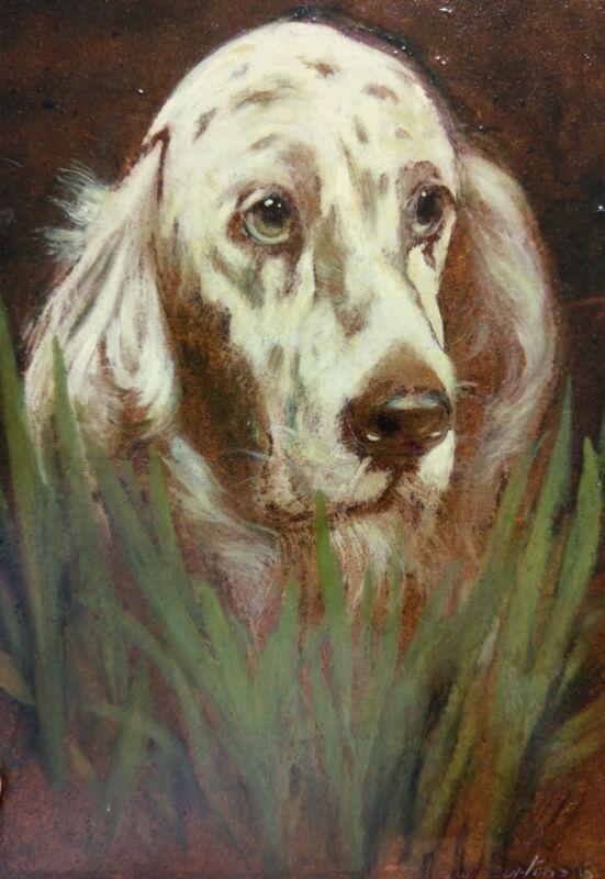 dog portrait! Rare oil painting by  Kieth Burtonshaw.    English Setter