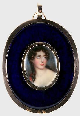 Antique 18thC Miniature Watercolour Portrait Painting Lady Hair Lock