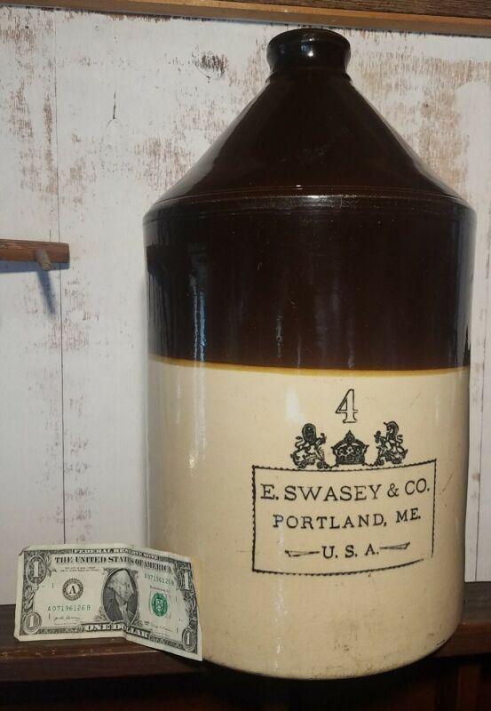 Ultra Rare! Huge E. Swasey, Portland Maine 4 Gal. Gallon Stoneware Jug. Minty