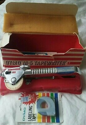 Vintage Dymo M-5 Tape Writer Label Maker W Box Extras - Testedworking