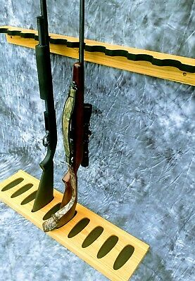 CLOSET GUN RACK HOLDS 14 GUNS FOR WALL HUNTING CAMP STORAGE GARAGE OAK WOOD.