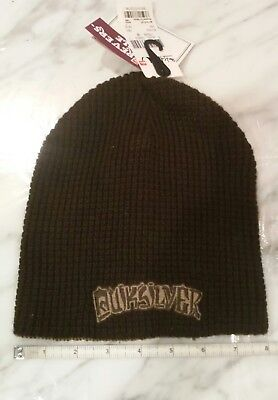 NWT, Quiksilver Reversible Brown Tan Youth Unisex One Size Beanie Cap Hat  Quiksilver Reversible Hat