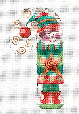 (ELF with Star MED. Candy Cane handpainted Needlepoint Canvas CH Designs -Danji)