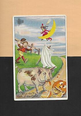PIG EATS JOL, WITCH, FRIGHTENEN MAN On Spooky Vintage HALLOWEEN Postcard