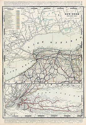 ANTQ 19th C 1892 MAP NY WEST 1/2, RAILROAD ROUTES NAMES